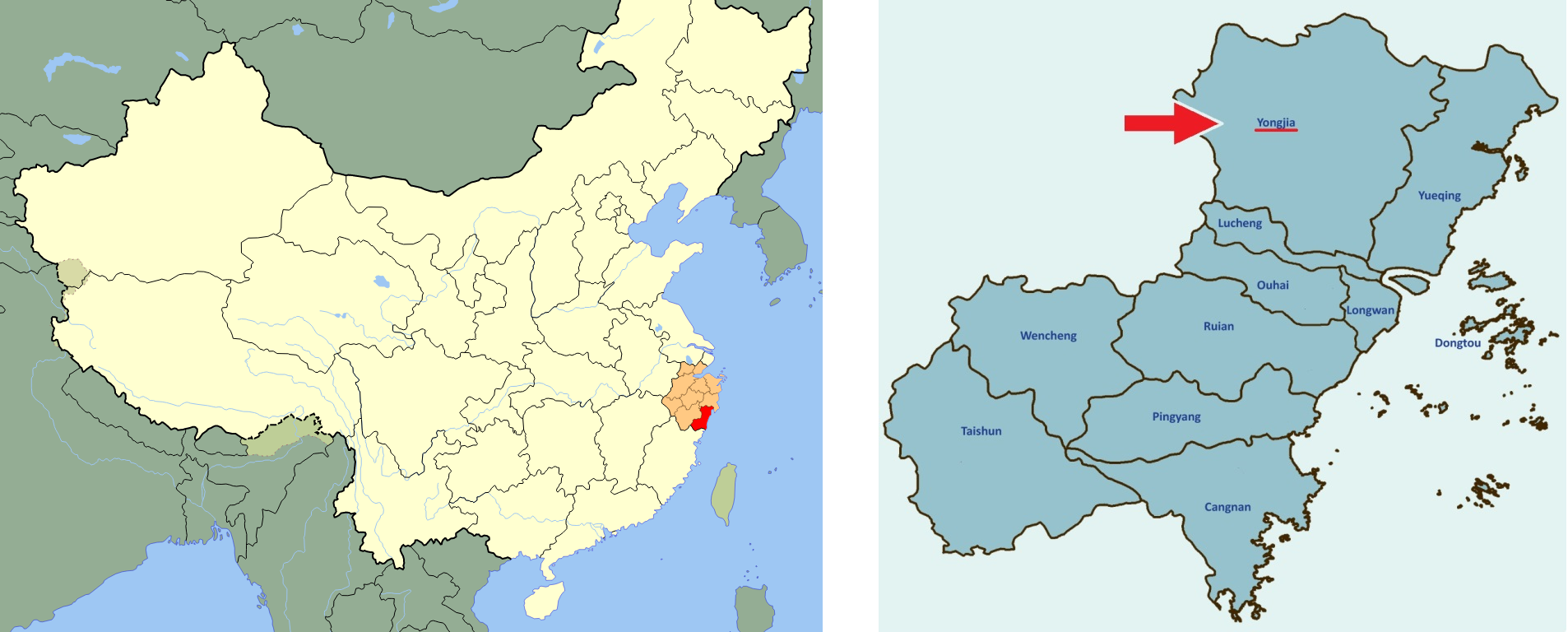 Left: Whenzhou City in the Zhejiang Province. Right: Yongjia county in Wenzhou city.